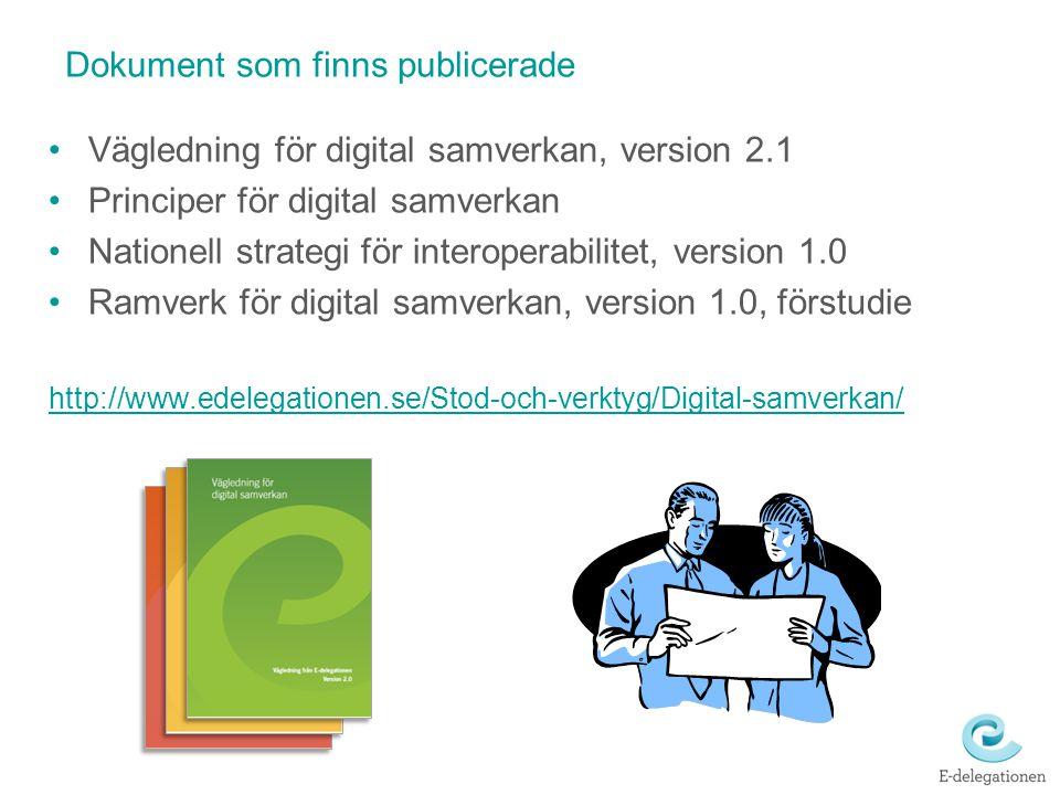 Dokument som finns publicerade Vägledning för digital samverkan, version 2.1 Principer för digital samverkan Nationell strategi för interoperabilitet,