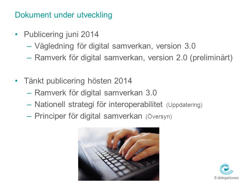 Dokument under utveckling Publicering juni 2014 –Vägledning för digital samverkan, version 3.0 –Ramverk för digital samverkan, version 2.0 (preliminär