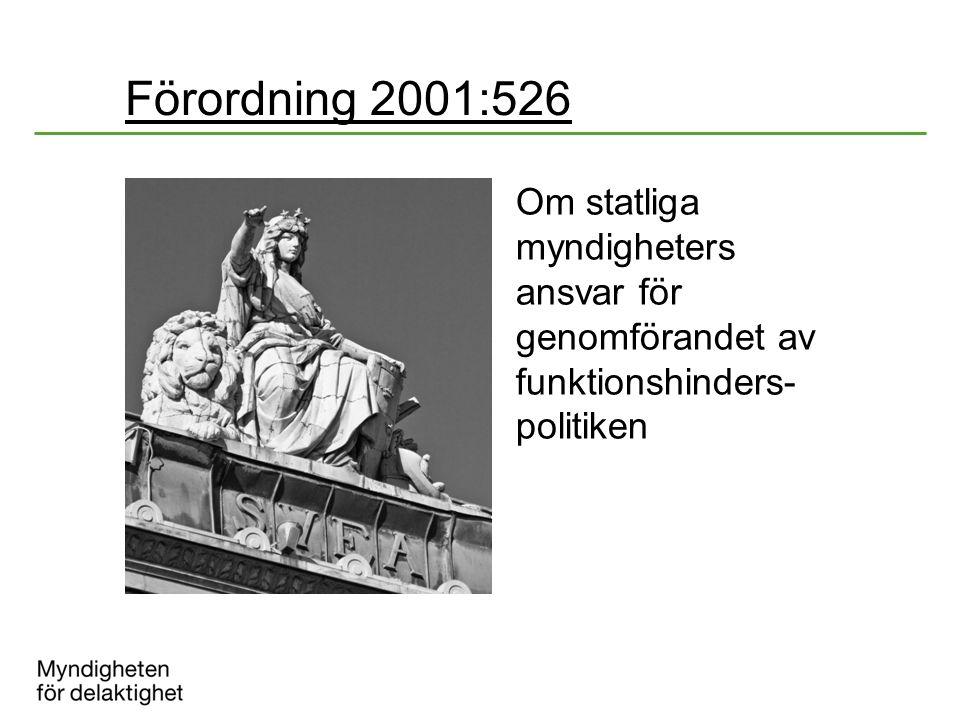 Förordning 2001:526 Om statliga myndigheters ansvar för genomförandet av funktionshinders- politiken