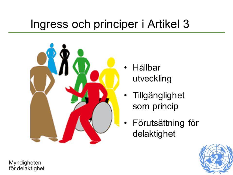 Ingress och principer i Artikel 3 Hållbar utveckling Tillgänglighet som princip Förutsättning för delaktighet