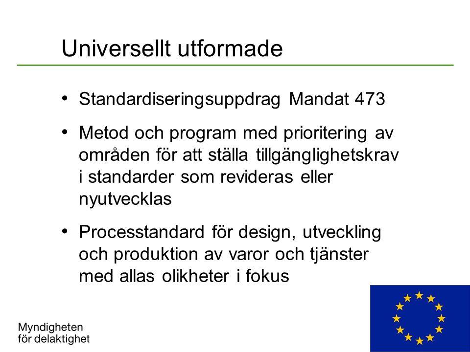 Universellt utformade Standardiseringsuppdrag Mandat 473 Metod och program med prioritering av områden för att ställa tillgänglighetskrav i standarder som revideras eller nyutvecklas Processtandard för design, utveckling och produktion av varor och tjänster med allas olikheter i fokus