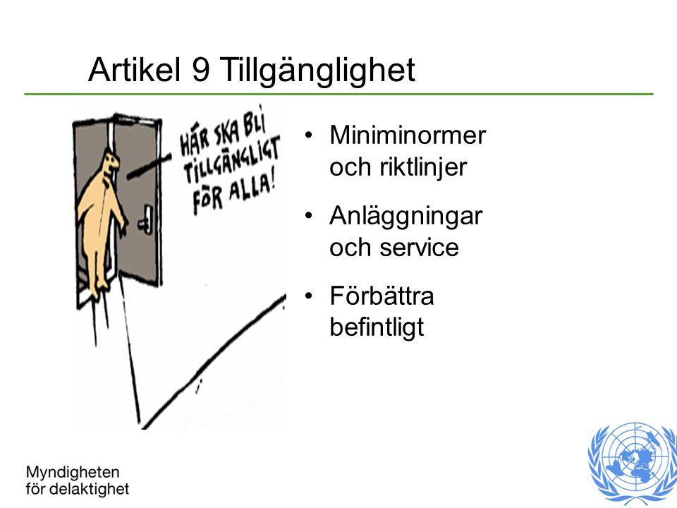 Artikel 9 Tillgänglighet Miniminormer och riktlinjer Anläggningar och service Förbättra befintligt