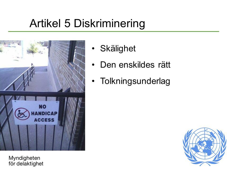 Artikel 5 Diskriminering Skälighet Den enskildes rätt Tolkningsunderlag