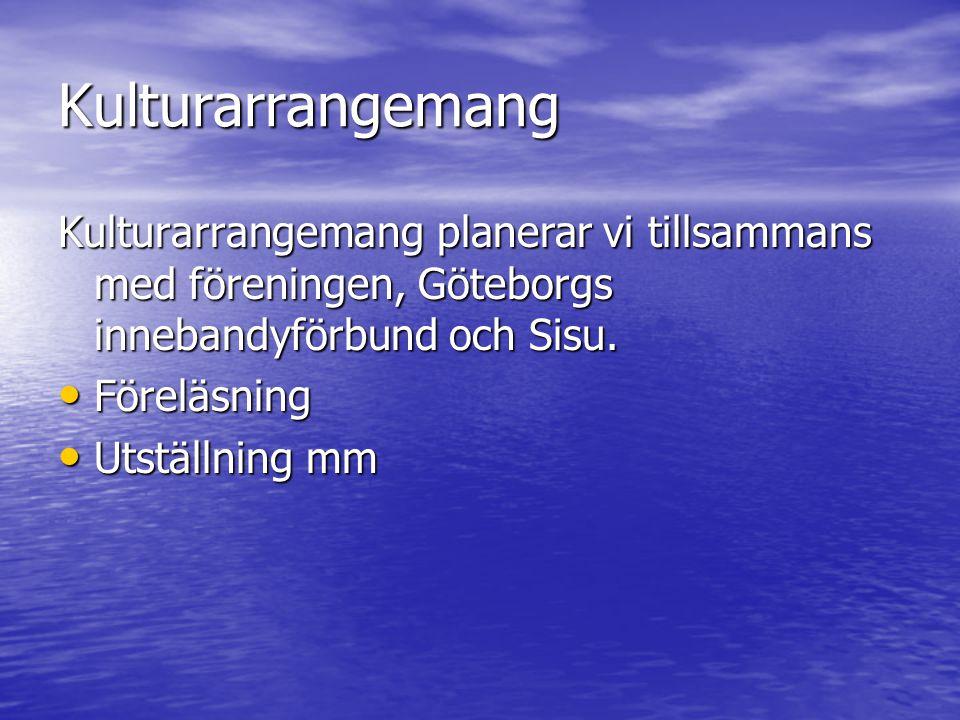 Kulturarrangemang Kulturarrangemang planerar vi tillsammans med föreningen, Göteborgs innebandyförbund och Sisu. Föreläsning Föreläsning Utställning m