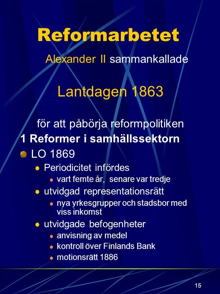 14 nationalism liberalism Stor efterfrågan på vissa produkter som trä och järn Sverige tidigt med men Finland förblev isolerat p.g.a. Nikolaj II instä