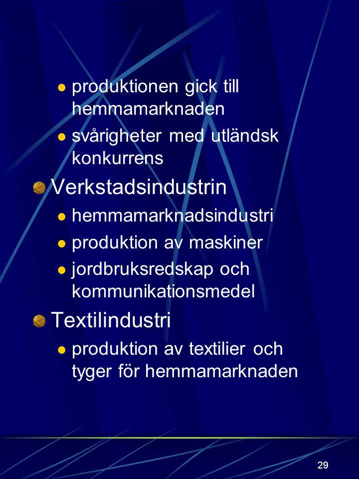 28 Industrin Träindustrin (1860-70) utgjordes av sågindustrin lokalisering: flodmynningar: Kymmene, Kumo, Kemi. Exp. industri Pappersindustri (1860 -