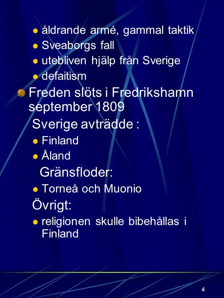 3 RIKET SPLITTRAS 1809 Riket sprängdes efter : Finska kriget 1808 - 09 Orsaker till kriget: Napoleons expansion kontinentalblockaden Gustav IV: s omed