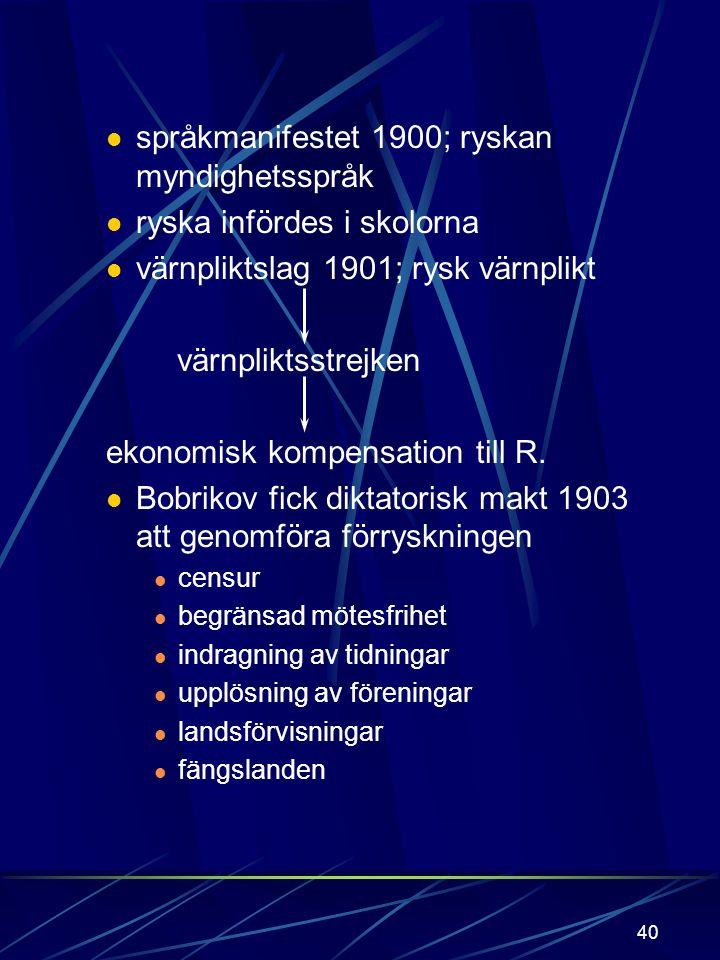 39 Alexander III tsar 1881 efter att fadern bombmördats. Förryskningsåtgärder: a) Inledning: Postmanifest nr. 1 1890 strafflagens uppskjutning 1889 Ni