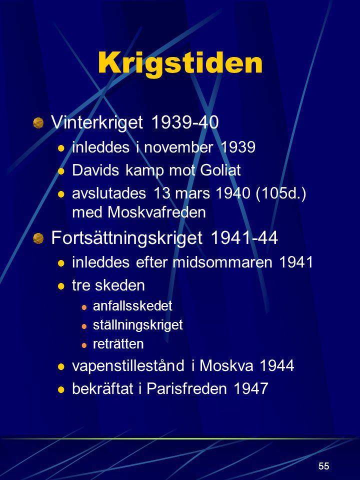 54 Finland i andra världskriget Allmänna orsaker (Europa): Versaillefreden tysk expansion västs svaghet rysk rädsla för Tyskland Speciella orsaker (Fi