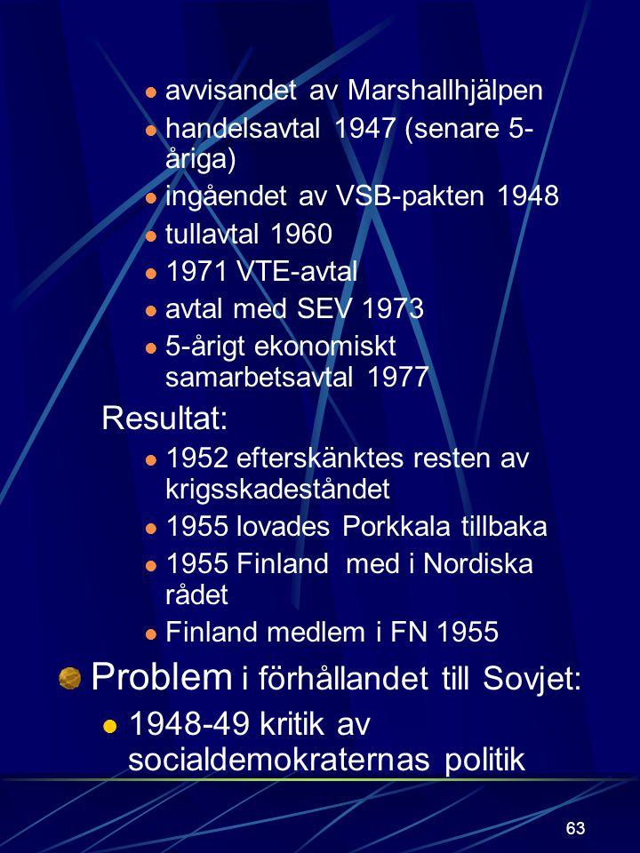 62 PK-linjen rangordnade utrikespolitiska tyngdpunkter: förhållandet till Sovjet samarbete med Norden förhållandet till ekonomiska integrationen (EG;
