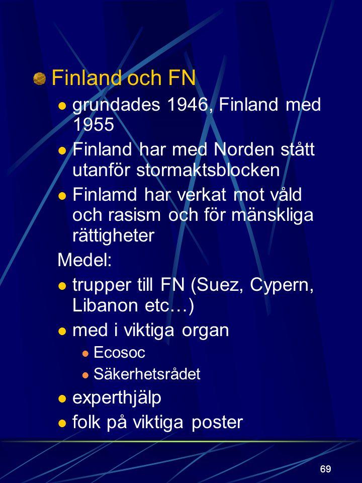 68 Finland och Europa OEEC OECD 1948 Finland med 1969 Finland med i GATT 1950 1957 EEC de sex BENELUX, D, F, I Finland avtal 1973 + SEV 1960 EFTA S, N