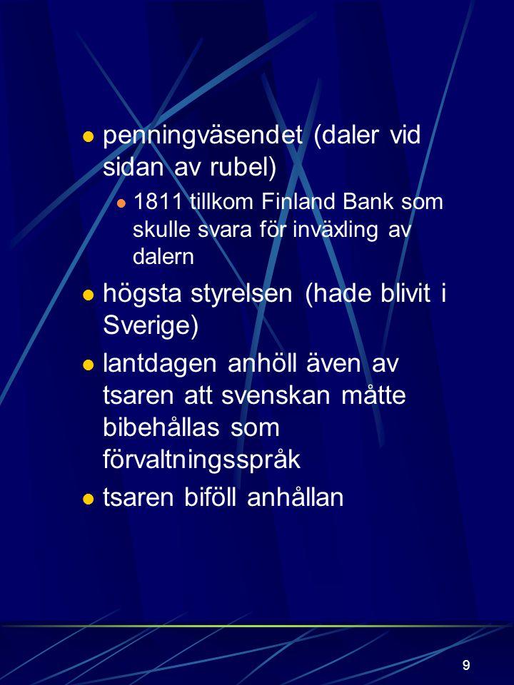 8 Borgå lantdag Hölls i mars 1809 ( obs! före fredsslutet) Kejsaren avgav regentförsäkran Lovade hålla: landets grundlagar (de svenska) religion privi