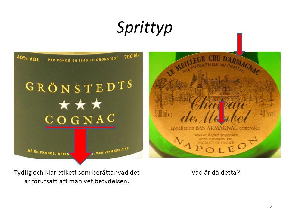 Sprittyp Tydlig och klar etikett som berättar vad det är förutsatt att man vet betydelsen. Vad är då detta? 3