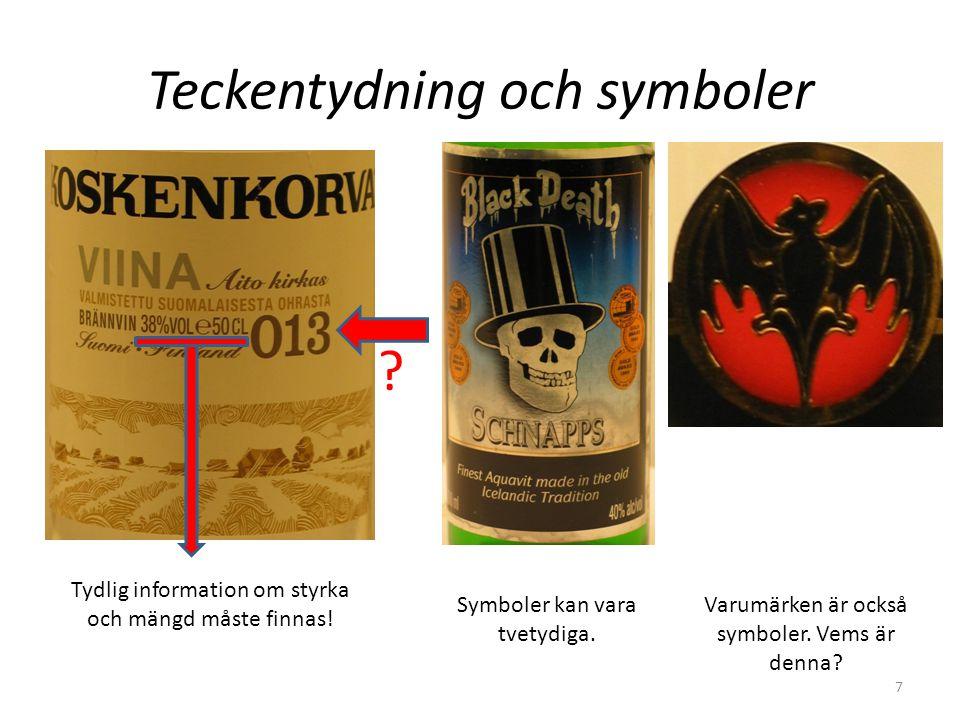 Teckentydning och symboler Tydlig information om styrka och mängd måste finnas! ? Symboler kan vara tvetydiga. Varumärken är också symboler. Vems är d