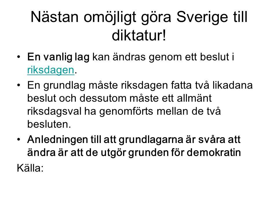 Nästan omöjligt göra Sverige till diktatur! En vanlig lag kan ändras genom ett beslut i riksdagen. riksdagen En grundlag måste riksdagen fatta två lik