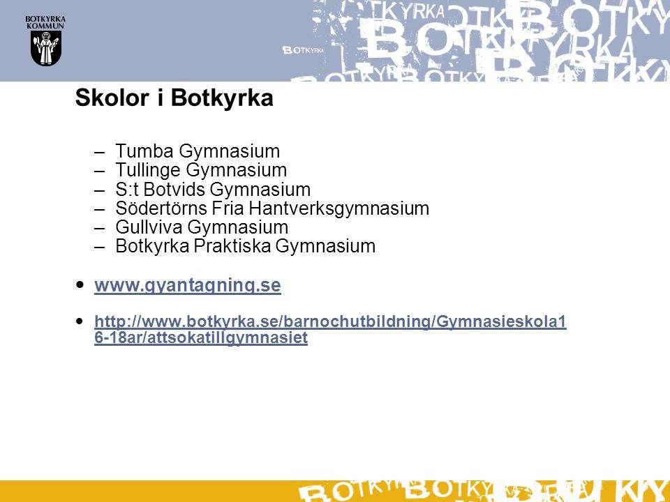 Skolor i Botkyrka – Tumba Gymnasium – Tullinge Gymnasium – S:t Botvids Gymnasium – Södertörns Fria Hantverksgymnasium – Gullviva Gymnasium – Botkyrka