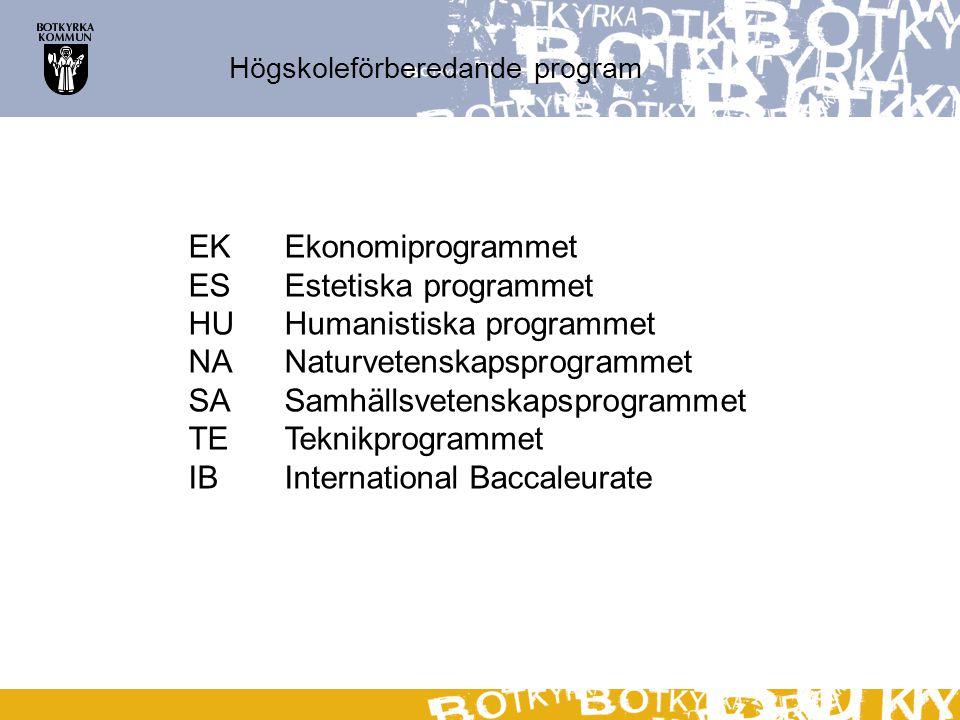 Högskoleförberedande program EKEkonomiprogrammet ESEstetiska programmet HUHumanistiska programmet NANaturvetenskapsprogrammet SASamhällsvetenskapsprog