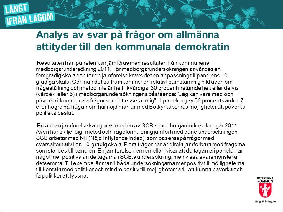 Analys av svar på frågor om allmänna attityder till den kommunala demokratin Resultaten från panelen kan jämföras med resultaten från kommunens medborgarundersökning 2011.