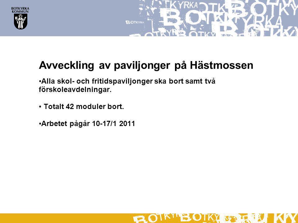Avveckling av paviljonger på Hästmossen Alla skol- och fritidspaviljonger ska bort samt två förskoleavdelningar.