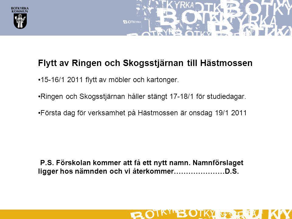 Flytt av Ringen och Skogsstjärnan till Hästmossen 15-16/1 2011 flytt av möbler och kartonger.