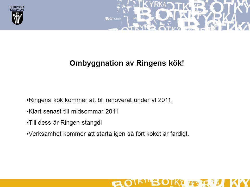 Ombyggnation av Ringens kök. Ringens kök kommer att bli renoverat under vt 2011.