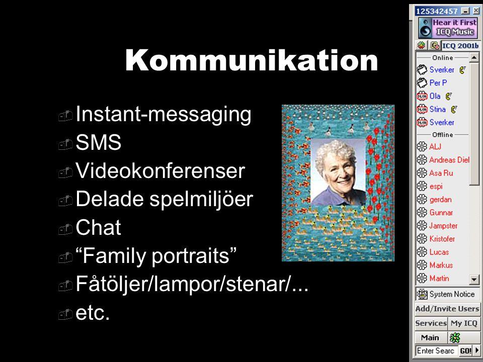 """Kommunikation  Instant-messaging  SMS  Videokonferenser  Delade spelmiljöer  Chat  """"Family portraits""""  Fåtöljer/lampor/stenar/...  etc."""