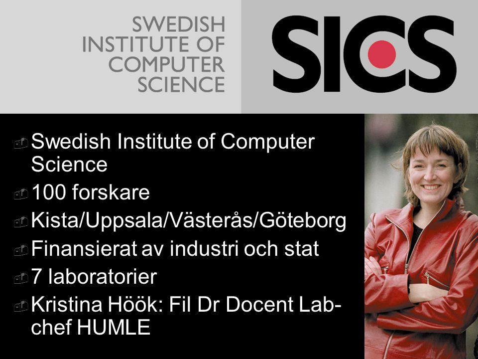  Swedish Institute of Computer Science  100 forskare  Kista/Uppsala/Västerås/Göteborg  Finansierat av industri och stat  7 laboratorier  Kristin