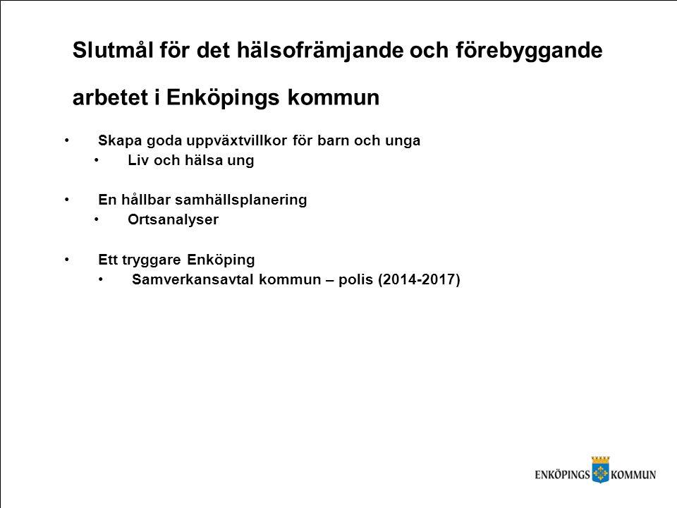 Slutmål för det hälsofrämjande och förebyggande arbetet i Enköpings kommun Skapa goda uppväxtvillkor för barn och unga Liv och hälsa ung En hållbar sa