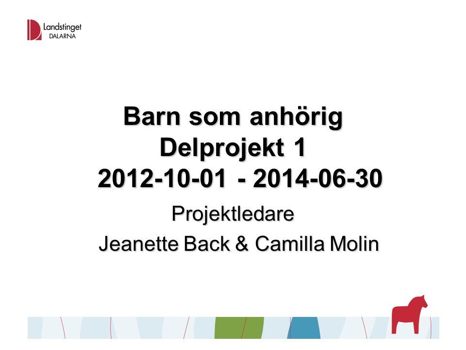 Barn som anhörig Delprojekt 1 2012-10-01 - 2014-06-30 Projektledare Jeanette Back & Camilla Molin Jeanette Back & Camilla Molin