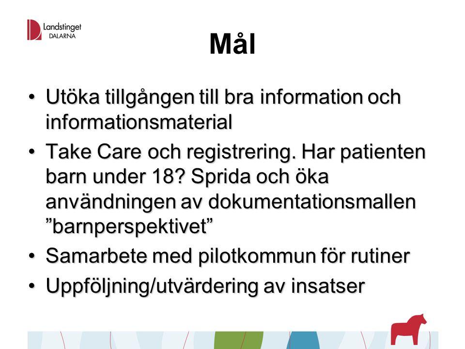 Mål Utöka tillgången till bra information och informationsmaterialUtöka tillgången till bra information och informationsmaterial Take Care och registrering.