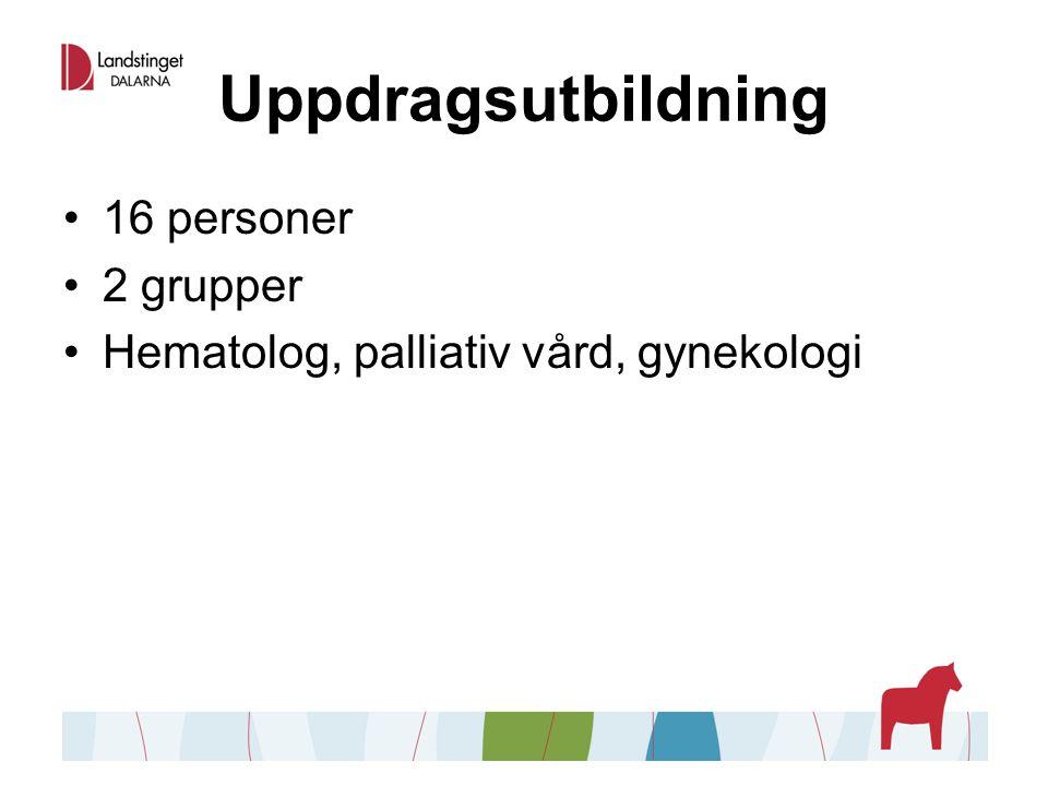 Uppdragsutbildning 16 personer 2 grupper Hematolog, palliativ vård, gynekologi