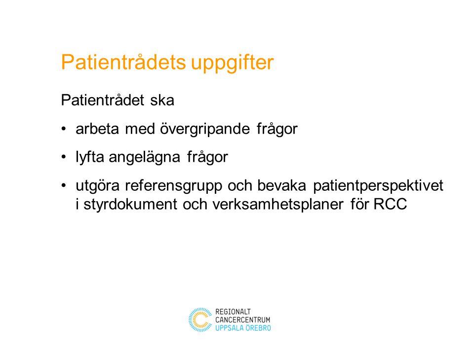 Består av två representanter per patientförbund som utses av lokala föreningar i samverkan Patientrådet utser ordförande vice ordförande RCC chef utser samordnare.