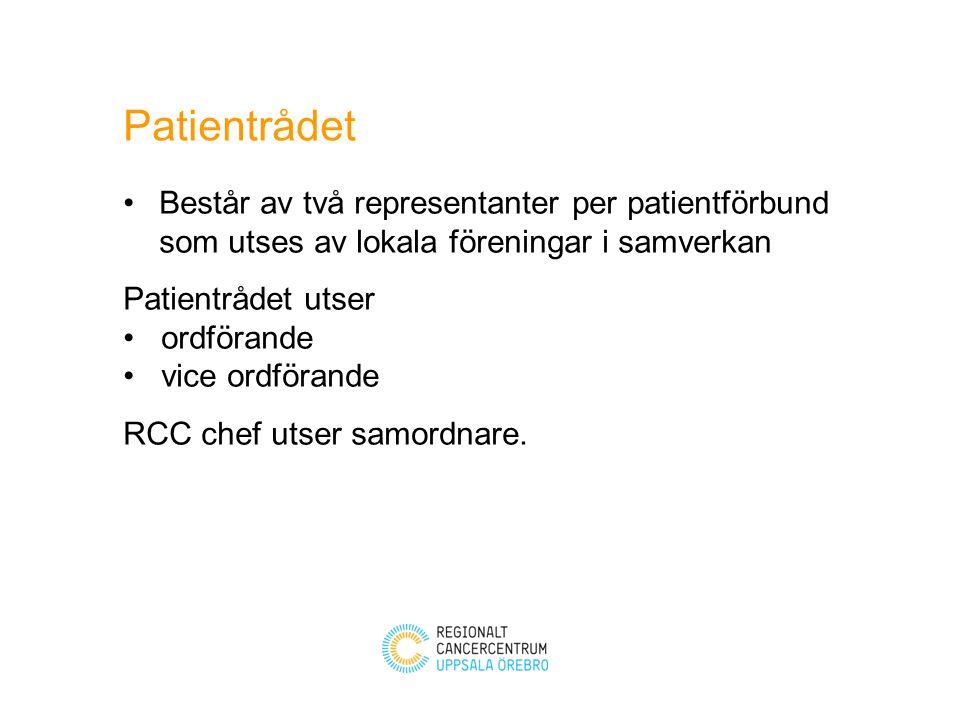 Kommunikation med berörda patientföreningar i regionen Sekreterare vid Patientrådets möten Nära samarbete med RCC informatör Samordnaren stödjer Patientrådets arbete