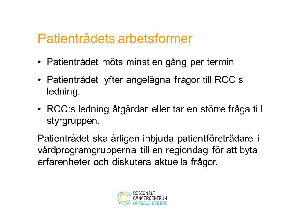 Arbetsutskott (AU) består av - ordförande - vice ordförande - två ledamöter utsedda av Patientrådet - RCC samordnare AU:s uppgift är att förbereda möten med Patientrådet och följa upp beslut.