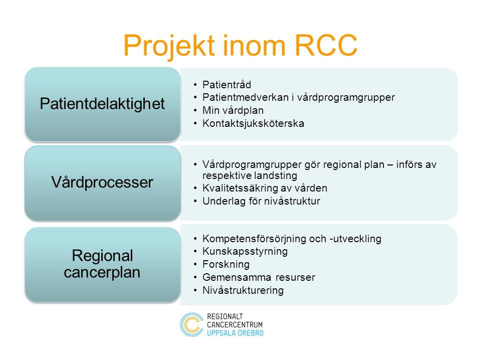 Projekt inom RCC Patientråd Patientmedverkan i vårdprogramgrupper Min vårdplan Kontaktsjuksköterska Patientdelaktighet Vårdprogramgrupper gör regional