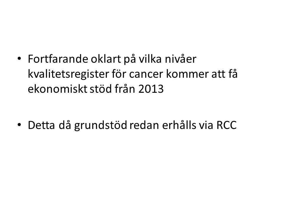 Fortfarande oklart på vilka nivåer kvalitetsregister för cancer kommer att få ekonomiskt stöd från 2013 Detta då grundstöd redan erhålls via RCC