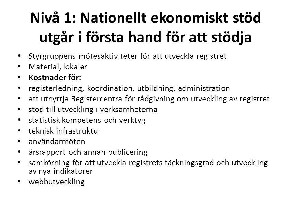Nivå 1: Nationellt ekonomiskt stöd utgår i första hand för att stödja Styrgruppens mötesaktiviteter för att utveckla registret Material, lokaler Kostn