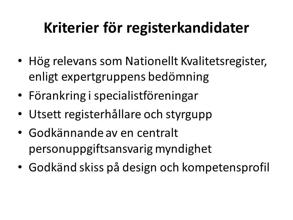 Kriterier för registerkandidater Hög relevans som Nationellt Kvalitetsregister, enligt expertgruppens bedömning Förankring i specialistföreningar Utse