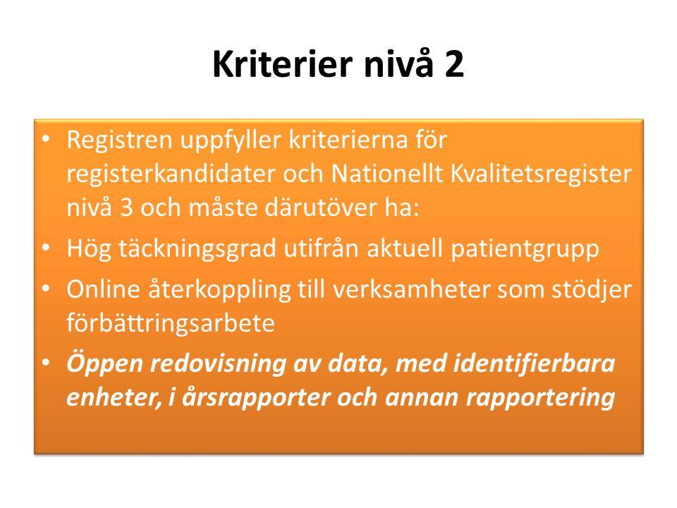 Kriterier nivå 2 Registren uppfyller kriterierna för registerkandidater och Nationellt Kvalitetsregister nivå 3 och måste därutöver ha: Hög täckningsg