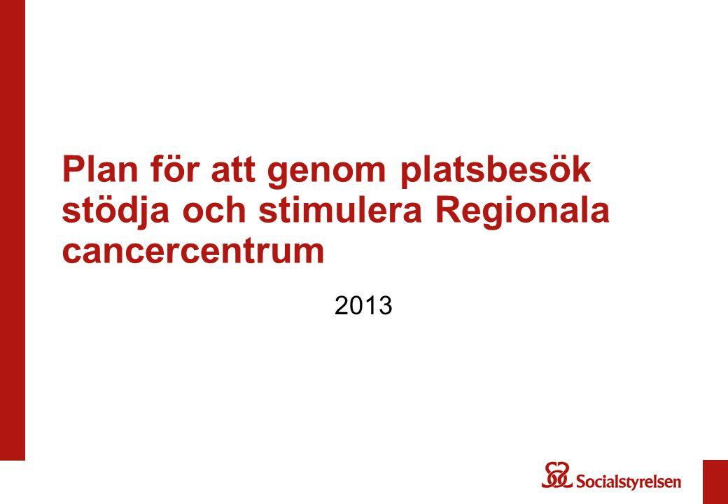 Plan för att genom platsbesök stödja och stimulera Regionala cancercentrum 2013