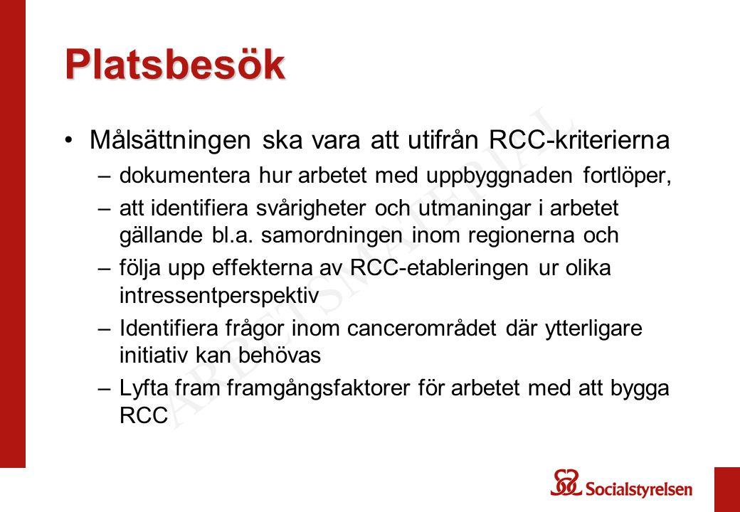 Synpunkter på planen Möten med RCC i Samverkan, SKL Patientföreningar inom cancerområdet Hälso- och sjukvårdsdirektörsgruppen Regiongruppen, NSK Cancerfonden Kontakter med Kjell Asplund (Nationell cancersamordnare), Myndigheten för vårdanalys, Socialdepartementet
