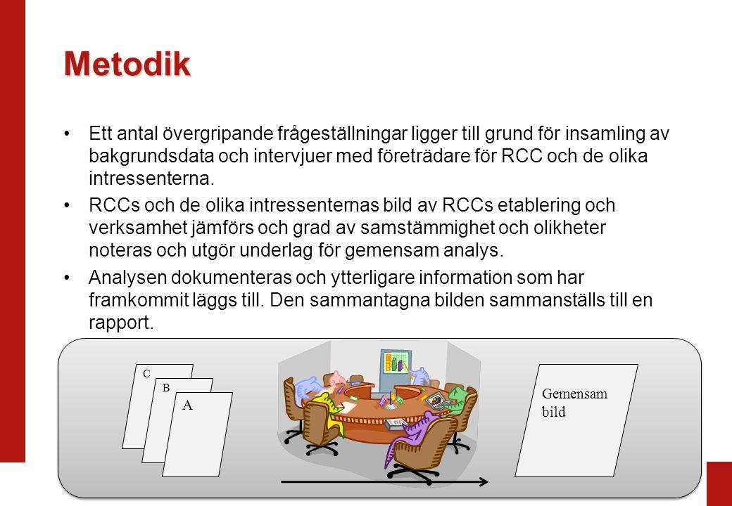 Metodik Ett antal övergripande frågeställningar ligger till grund för insamling av bakgrundsdata och intervjuer med företrädare för RCC och de olika intressenterna.