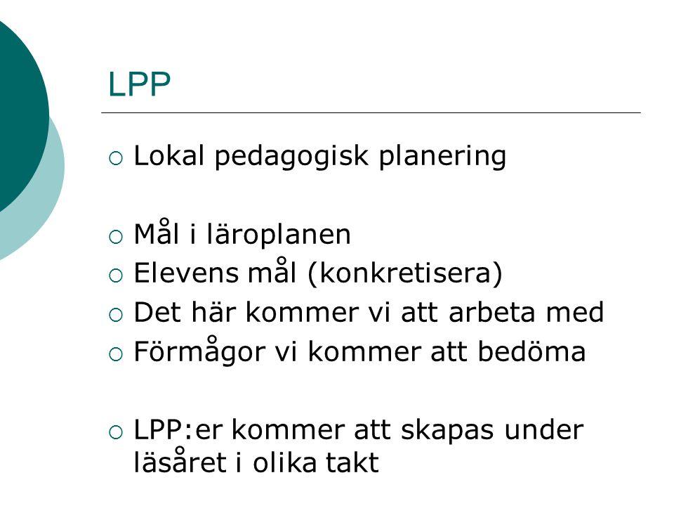 LPP  Lokal pedagogisk planering  Mål i läroplanen  Elevens mål (konkretisera)  Det här kommer vi att arbeta med  Förmågor vi kommer att bedöma 