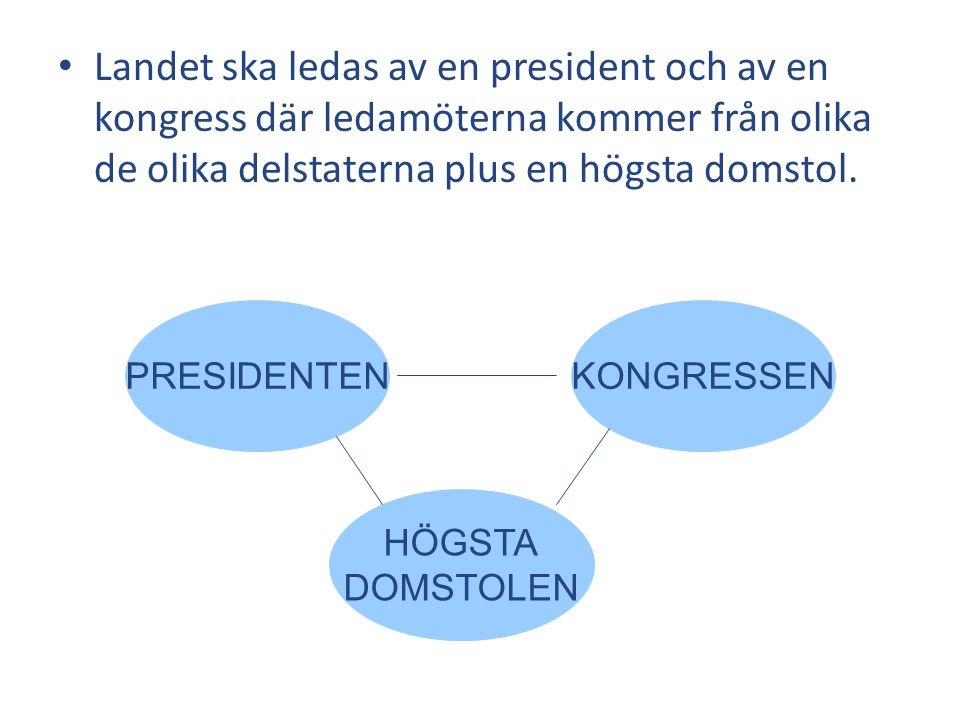 Landet ska ledas av en president och av en kongress där ledamöterna kommer från olika de olika delstaterna plus en högsta domstol. KONGRESSEN HÖGSTA D