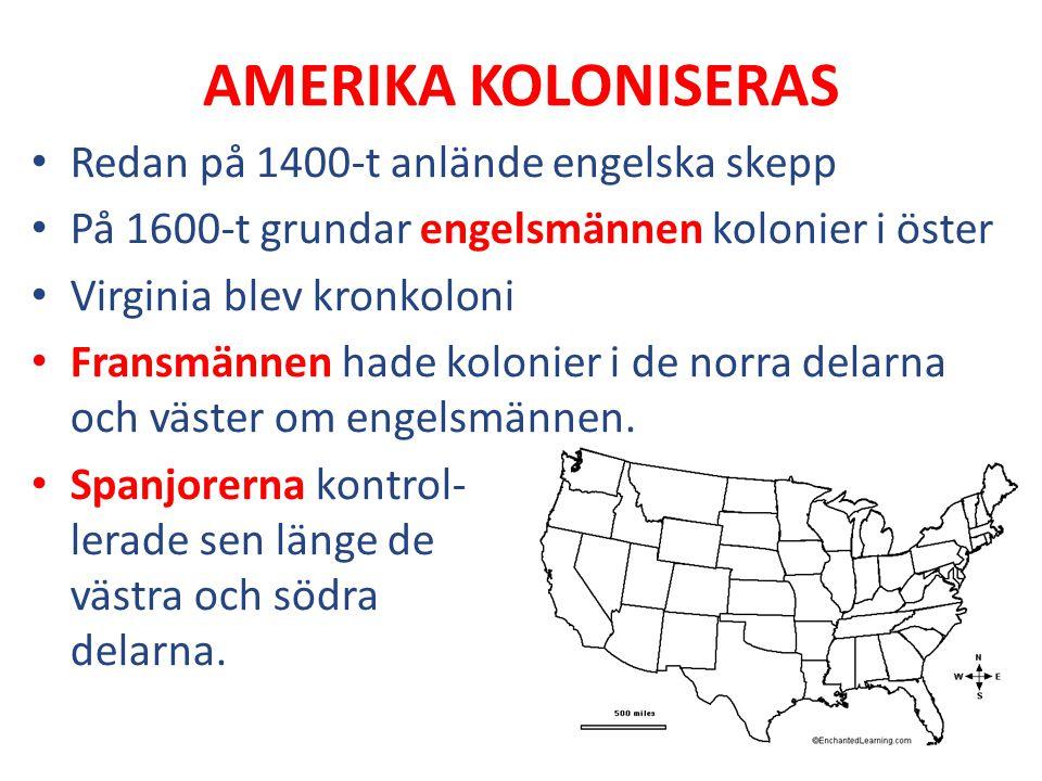 AMERIKA KOLONISERAS Redan på 1400-t anlände engelska skepp På 1600-t grundar engelsmännen kolonier i öster Virginia blev kronkoloni Fransmännen hade k