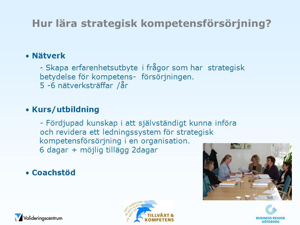Nätverk Kurs/utbildning Coachstöd Hur lära strategisk kompetensförsörjning? - Skapa erfarenhetsutbyte i frågor som har strategisk betydelse för kompet