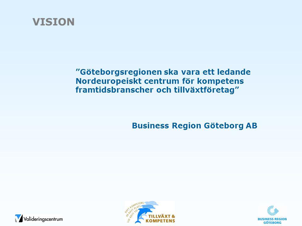 """VISION """"Göteborgsregionen ska vara ett ledande Nordeuropeiskt centrum för kompetens framtidsbranscher och tillväxtföretag"""" Business Region Göteborg AB"""