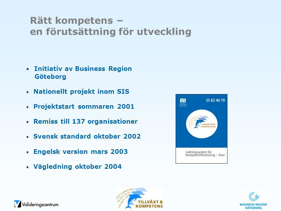 Rätt kompetens – en förutsättning för utveckling Initiativ av Business Region Göteborg Nationellt projekt inom SIS Projektstart sommaren 2001 Remiss t