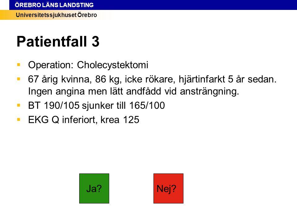 Universitetssjukhuset Örebro ÖREBRO LÄNS LANDSTING Patientfall 3  Operation: Cholecystektomi  67 årig kvinna, 86 kg, icke rökare, hjärtinfarkt 5 år