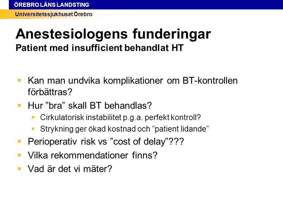 Universitetssjukhuset Örebro ÖREBRO LÄNS LANDSTING Anestesiologens funderingar Patient med insufficient behandlat HT  Kan man undvika komplikationer